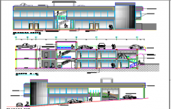Two level shopping center elevation and sectional view details dwg file