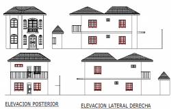Two level single family house all sided elevation details dwg file