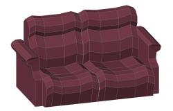 Two seating sofa set 3d block cad drawing details dwg file