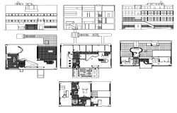 Two-storey Housing structure detail elevation and plan layout file