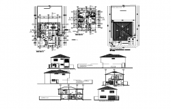 Two-storey housing structure detail elevation and plan dwg file