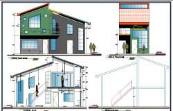 Two story administrative office elevation and sectional details dwg file
