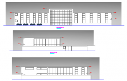 Two story attorney general office elevations details dwg file