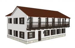Two-story hostel building 3d design cad drawing details dwg file