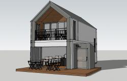 Two-story house 3d model cad drawing details skp file