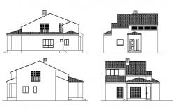 Two-story house all sided elevation cad drawing details dwg file