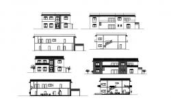 Two-story house all sided section and elevation details dwg file