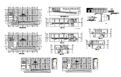 Two-story house all sided section and structure details of all floors dwg file