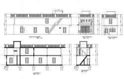 Two-story house building all sided constructive sectional details dwg file