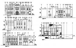 Two story house building elevation and section details dwg file