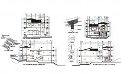 Two-story house facade and back elevation and sectional details dwg file