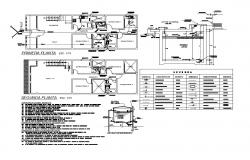 Two-story house floor plan with water tank and plumbing details dwg file