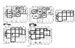 Two-story house foundation plan and floor plan details dwg file