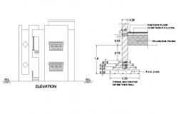 Two story house main elevation and thick wall typical section details dwg file