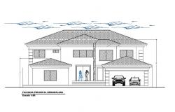 Two-story house main facade elevation cad drawing details dwg file