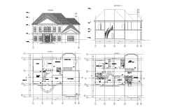 Two story house plans detail dwg file.