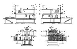 Two-story house with parking floor elevation and constructive section details dwg file