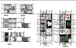 Two story housing elevation, section and floor plan details dwg file