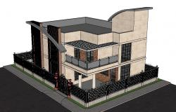 Two-story modern house 3d model cad drawing details skp file