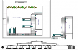Two story shopping center architecture project dwg file