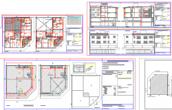 Two story shopping center elevation, section and floor plan details dwg file