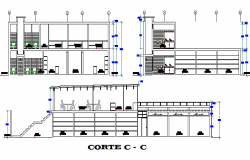 Two-story shopping center sectional details dwg file