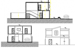 Two-story store elevation and sectional details dwg file
