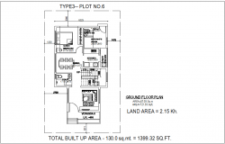 Type 3 plot no.6 ground floor plan of bungalows with architectural view dwg file