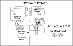 Type 4 plot no.6 first floor plan of bungalows with architecture view dwg file