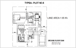 Type 4 plot no.6 ground floor plan with architecture view of bungalows dwg file