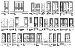 Types of door elevation  dwg file