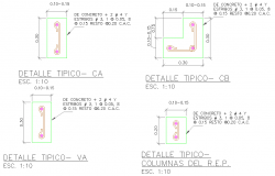 Typical column section plan detail dwg file