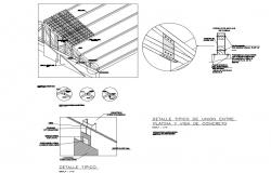 Typical details of union between platina and concrete beam of roof dwg file