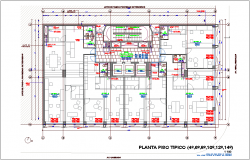 Typical floor four to fourteen floor plan of office with architectural view dwg file