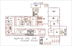 Typical fourth and fifth floor plan view of hospital dwg file