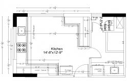 Typical kitchen structure layout file in autocad format