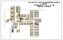 Typical layout of 5th to 8th floor design drawing