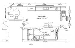 Typical layout of kitchen structure CAD block autocad file