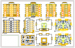 Typical plan detail of multi storey residential house design drawing