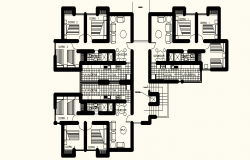 Typical plan of the housing unit with furniture detail in AutoCAD