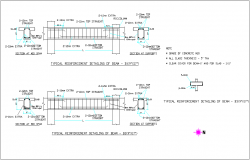 Typical reinforcement detail of beam with structure view for admin office dwg file
