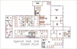 Typical second and third floor plan view of hospital dwg file