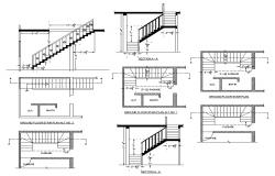 Typical stair construction 2d view CAD structural block layout file in dwg format