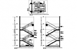 Typical staircase ground to second-floor plan detail dwg file