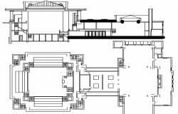 Unity Temple Architecture Design and Elevation dwg file