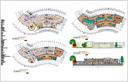 University design view with library plan and elevation view dwg file