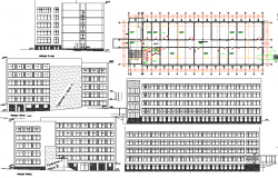 University plan and elevation detail dwg file