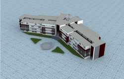 University residence elevation dwg file
