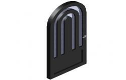 Upper round type door design with glass view in 3D