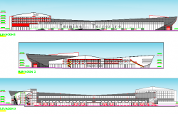 Urban Bus Station Architecture Design and Elevation dwg file